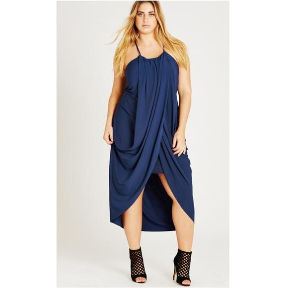 City Chic Dresses & Skirts - City Chic Slinky Wrap Dress in French Navy XXL